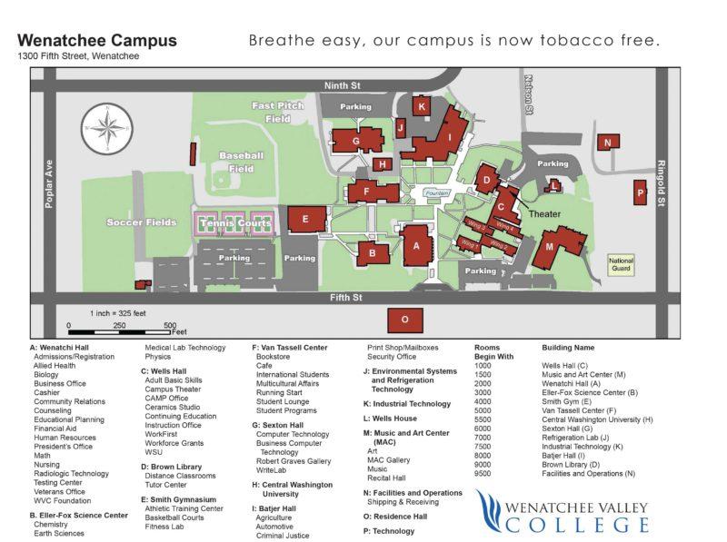 Wenatchee Valley College Map   Wenatchee Naturalist